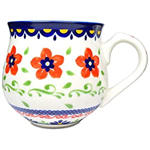 Mino Ware Coffee Mug Ceramic Tea Cup, Polish Pottery Boleslawiec Flower Design, 1.5 oz, Red
