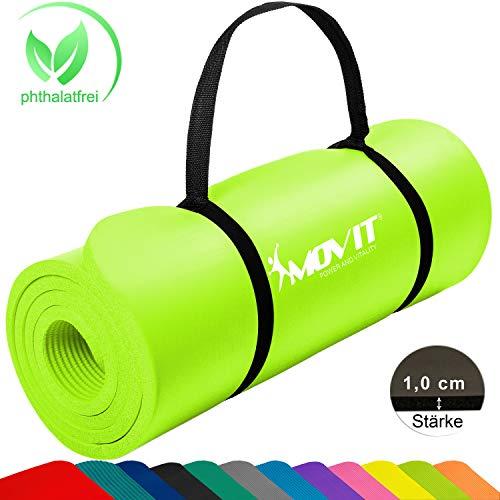 Movit Pilates Gymnastikmatte, Yogamatte, phthalatfrei, SGS geprüft, 183 x 60 x 1,0cm, in Limette