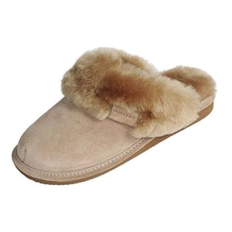 Lammfell Hausschuhe - MALIBU Damen Pantoffeln Fell Schuhe Schuhgröße EUR 38, Farbe Beige