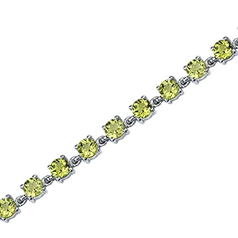 Revoni Eternally Magnificent: 7.25 carats total weight Round Shape Peridot Gemstone Bracelet in Sterling Silver