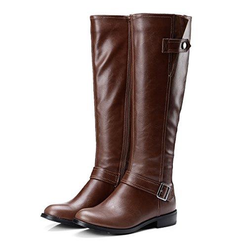 VB Stivali scarpe con colori solidi di grandi dimensioni testa rotonda il fondo piatto della fibbia della cintura di sicurezza Dark Brown