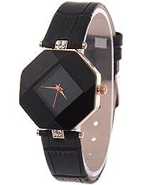 Womens Rhinestone Quartz Watches,Ulanda-EU Fashion Analog Clearance Lady Wrist Watch Female watches on Sale Watches for Women,Round Dial Case Comfortable PU Leather Wristwatch m94 (Black)