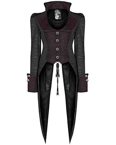 Punk Rave Damen Gotik Frack Jacke Schwarz Rot Steampunk Piraten Dovetail Mantel - Schwarz & Rot, S - UK Womens Size 8