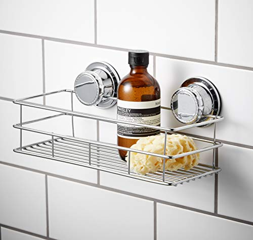Bloomsbury Mill Extra Strong Suction Cup Shower Caddy-Rectangular Bathroom Organiser Basket-Shampoo Soap Holder Shelf-No Drill-Rust Resistant Chrome