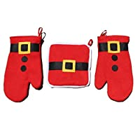 Generic Red : 3pcs/set Christmas Kitchen Cooking Tools Potholder Oven Mitts Gloves Kitchen Accessories Placemat F2