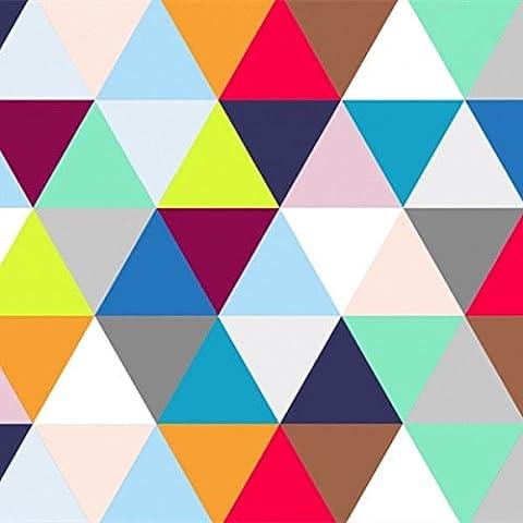 XMQC*Multi geometrico di triangoli colorati carta murale Caleidoscopio carta da parati Arlecchino