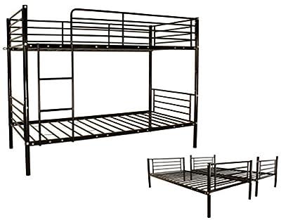 Childrens Bunk Bed Metal Frame Kids Adult Double / Single 3FT Twin Sleeper Bedroom Furniture Black New
