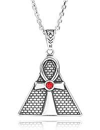 4d7680b83639 MunkiMix Acero Inoxidable Collar Colgante Cz Cubic Zirconia Circonita El  Tono De Plata Rojo Egipcio Egipto