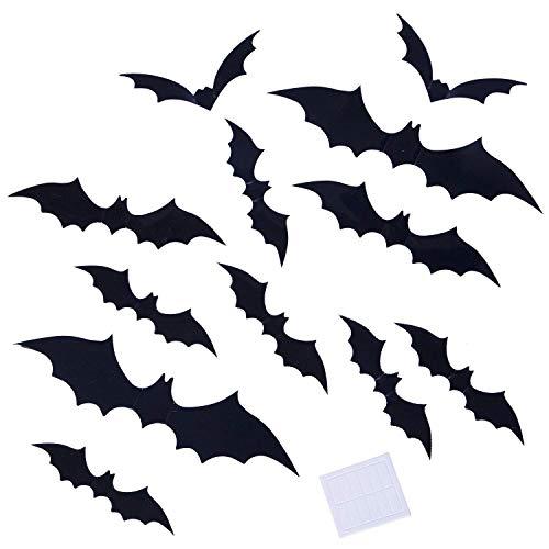 Atiming 60 x Schwarze Halloween-Wandsticker Dekoration Gruselige PVC-3D-Fledermäuse Wandaufkleber, Fensteraufkleber, 4 Verschiedene Arten für Halloween-Party-Dekorationen