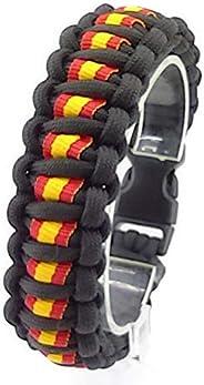 Pulsera de supervivencia ESPAÑA mod. DOBLE, a medida. Paracord 550. Hecha a mano en España. Color NEGRO