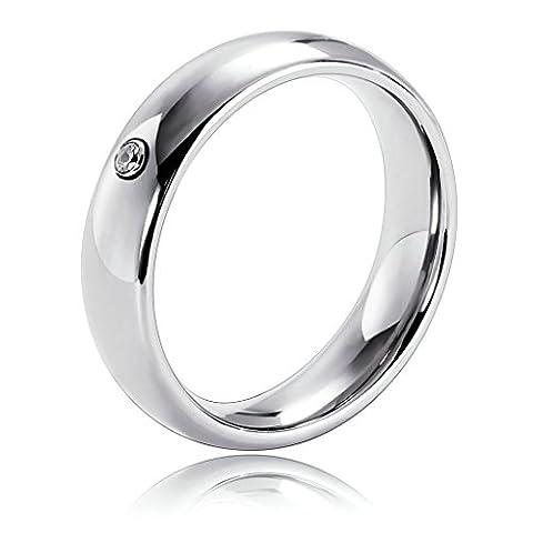 Bishilin Modeschmuck Paare Ringe Edelstahl Zirkonia Kreis Bequemlichkeit Passen Hochzeitsring Paarringe Silber Ringgröße 60 (19.1)
