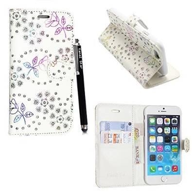 Kamal Star® Klappschutzhülle fürs Handy, aus Kunstleder, mit Standfunktion, für verschiedenen Apple-Handys, mit Magnetschließe, inkl. Eingabestift, Kunstleder, Blue Book, iPhone 5 5S Rose White Diamond Book