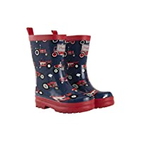 Hatley Boys Printed Wellington Rain Boots, Blue (Red Farm Tractors),8 UK(24 EU)