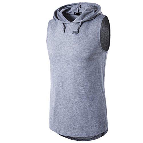 Zhhlaixing Atmungsaktiv Men's Casual Summer Lightweight Sports Sleeveless  Hooded T-Shirt Light Gray
