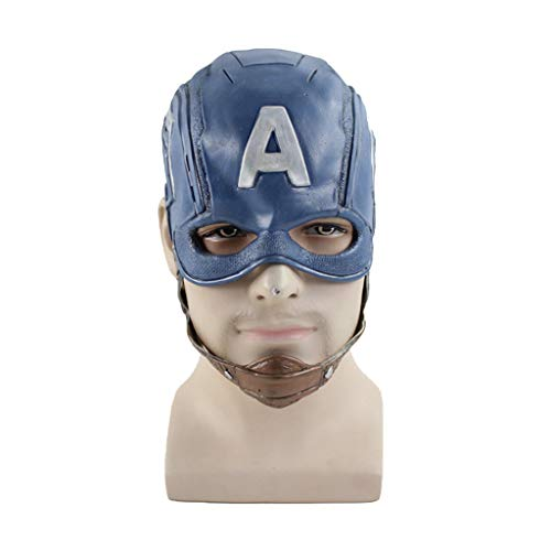 QWEASZER Captain America: Civil War, Captain America Maskenhelm Marvel Avengers Captain America 3 Maske COS Halloween Helm Requisiten,Captain America mask-0cm~63cm