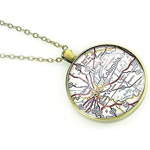 1954 Columbia de la vendimia de la vendimia collar de mapa de Carolina del Sur bronce colgante de plata mejor regalo de
