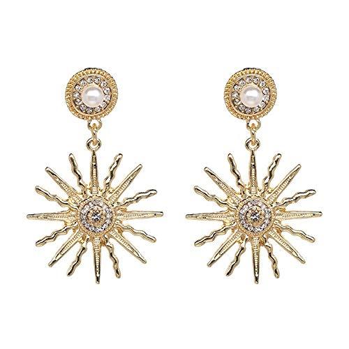 Xafxal signora orecchini,moda femminile lega vintage sunshine fascino penzolare orecchini in oro per gioielli collezione bohemien orecchini accessori