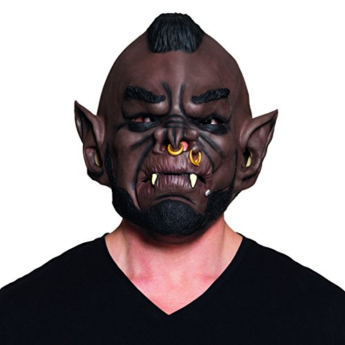 Amakando Troll Maske - braun - Schaurige Ork Maske Goblin Faschingsmaske Monstermaske Halloween LARP Cosplay Vollmaske Schaurige Ork Maske