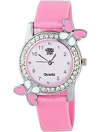 Swadesi Stuff Exclusive Diamond Studded Pink Butterfly Analog Watch for Girls & Women