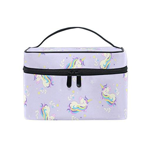 Gran Mango de viaje de almacenamiento de tocador y maquillaje bolsa de maquillaje, unicornio patrón impreso personalizado funda con compartimentos para Teenage niña mujer Lady Violet
