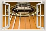 Unified Distribution Akustik Gitarre hell braun - Wandtattoo mit 3D Effekt, Aufkleber für Wände und Türen Größe: 92x61 cm, Stil: Fenster