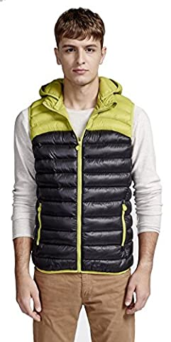 starepe Veste sans manches courtes Ultralight Color Block Doudoune à capuche sans manches pour femme - Vert - Large