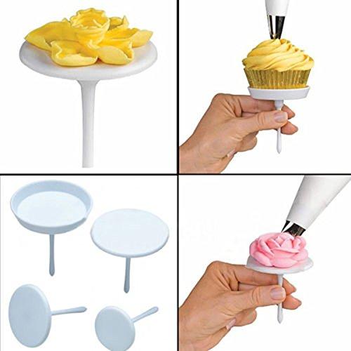 Seguryy 4pcs torta Cupcake stand glassa Panna Flower Nails fondente