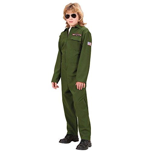 Widmann wdm73139 - costume per bambini pilota di jet da comb (164 cm/14-16 anni), verde, s