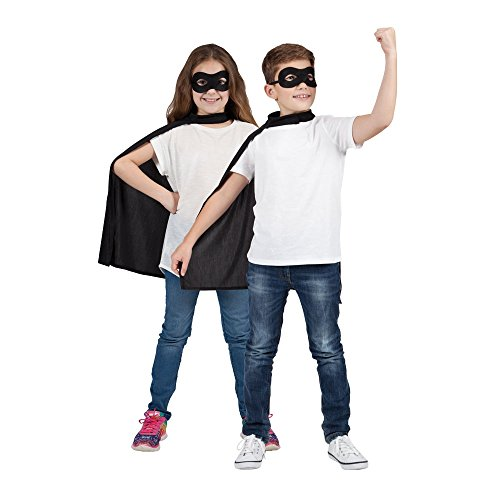 Black Kids Super Hero Cape & Mas...