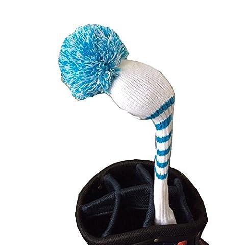 Golf-Couvre-bois à pompon-Blanc/bleu, bleu, 1 pompon pour bois de Parcours. White Color Blue Stripes Fairway Wood Pom Pom Headcover