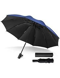 Paraguas de Viaje automático Plegable Compacto Paraguas Auto Abrir/Cerrar Negro…