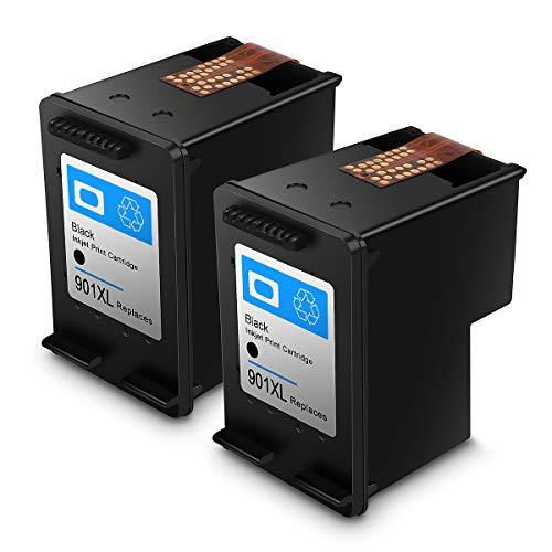 Cartucho de Tinta regenerado HP 901,HP 901 XL Cartuchos de Tinta de Alto Rendimiento para HP DeskJet, HP OfficeJet y HP Envy (2 Negro)