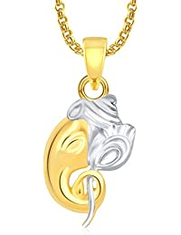 Ganpati God Pendant With Chain Lockets For Men And Women Gold Plated In American Diamond Cz GP338