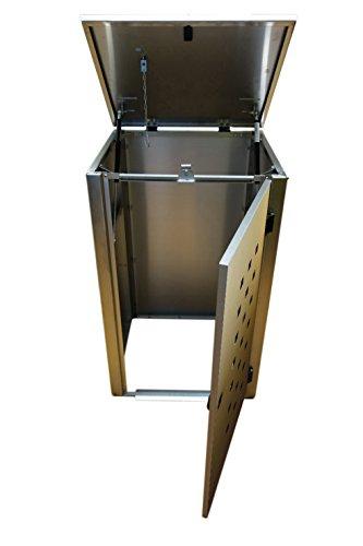 Mülltonnenbox Edelstahl, Modell Eleganza Quad6, 240 Liter als Zweierbox - 3