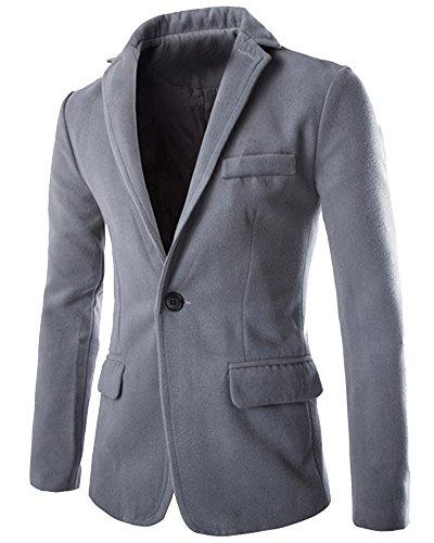 Herren Jacken Stilvoller Klassischer Langarm Trenchcoat Mantel Business Hell Grau