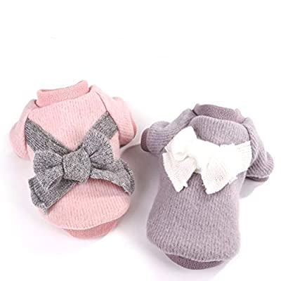 Cute Pet Puppy Cat Warm Jumper Sweater Bow Knitwear Coat Apparel Clothes Sweatershirt Winter Flannel Small Dog Chihuahua Yorkshire Hoodie Clothes Dog jacket from Smoro