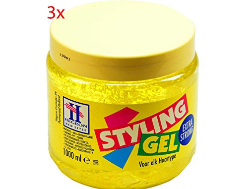 3x HEGRON EXTRA STRONG Haar Gel Styling Haargel 1000ml