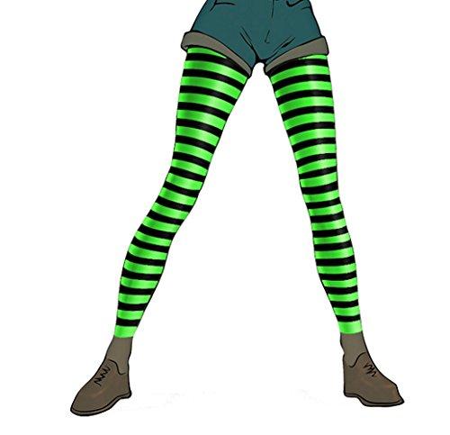 Pariser-Mode Damen-Leggings, Mikrofaser, blickdicht, schwarz geringelt mit weiß, Gr. 2XL (56-58)