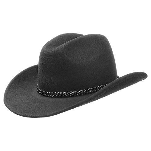 Westernhut Filzhut Cowboyhut mit zusätzlichem Federnband (61)