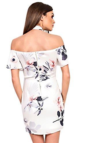 Women's Ladies Stunning Off-shoulder Glam Celeb Boho Patterned Dress White
