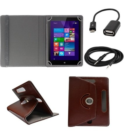 ECellStreet ™ 7 Inch PU Leather Rotating 360° Flip Case Cover With Tablet Stand For Digiflip Pro ET701Tablet - Dark Brown + Free Aux Cable + Free OTG Cable  available at amazon for Rs.289