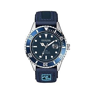 Reloj deportivo para hombre Kahuna con esfera azul y resistente al agua hasta 50 m. Con correa de nailon con cierre de velcro. KUV-0003G