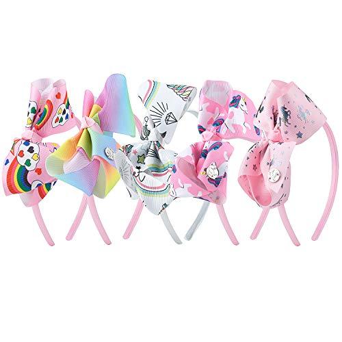 MOOKLIN ROAM 5 piezas Diademas Unicornio Diadema de Nudo Bandas de Cabello Linda Accesorios fiesta de cumpleaños suministros favores decoracione para Niñas (Colores Variados)