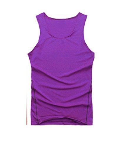 L & L Herren Sport Compression Unterhemden Oberteile Eng Tank T-Shirt Unterhemden - Lila, L