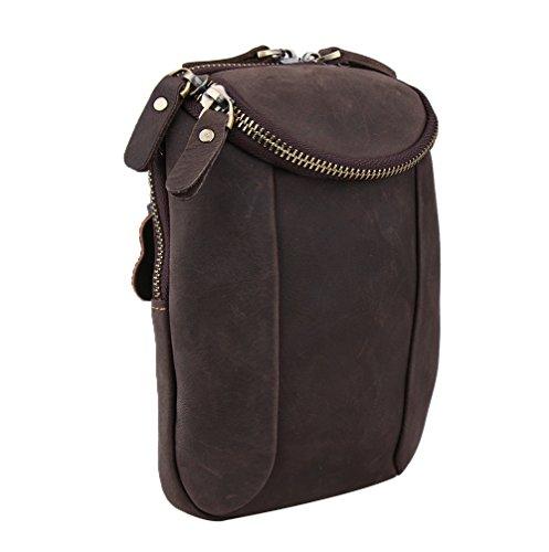 Genda 2Archer Mini Crossover Tasche Ledergürtel Gürteltasche für Männer (Braun 3) Braun