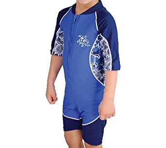 Boys Tuga Short Sleeve UV Swim Suit - Low Tide 0-7 Years - UPF50+ Sun Protection - (High Sea, 6-7 Years)