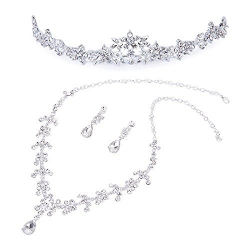 ume Diadem Anhänger Halskette Ohrringe Hochzeit Braut Schmuck Set ()