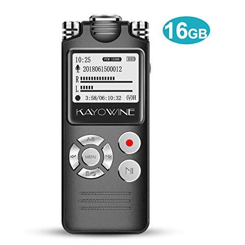 Digitales Diktiergerät,KAYOWINE 16GB 1536Kbps mit deutsche Schnittstelle Diktiergerät Digitalrecorder Spracherkennung Lautsprecher für Büro Schule Interviews