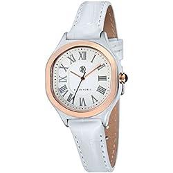 Ladies Klaus Kobec Maya Watch with White Dial and Genuine White Leather Strap - KK-10024-05