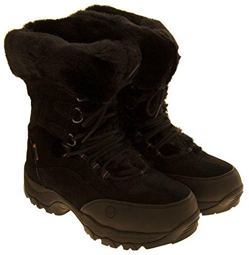 Donna Hi-Tec pelle scamosciata impermeabile stivali da neve d'inverno Nero
